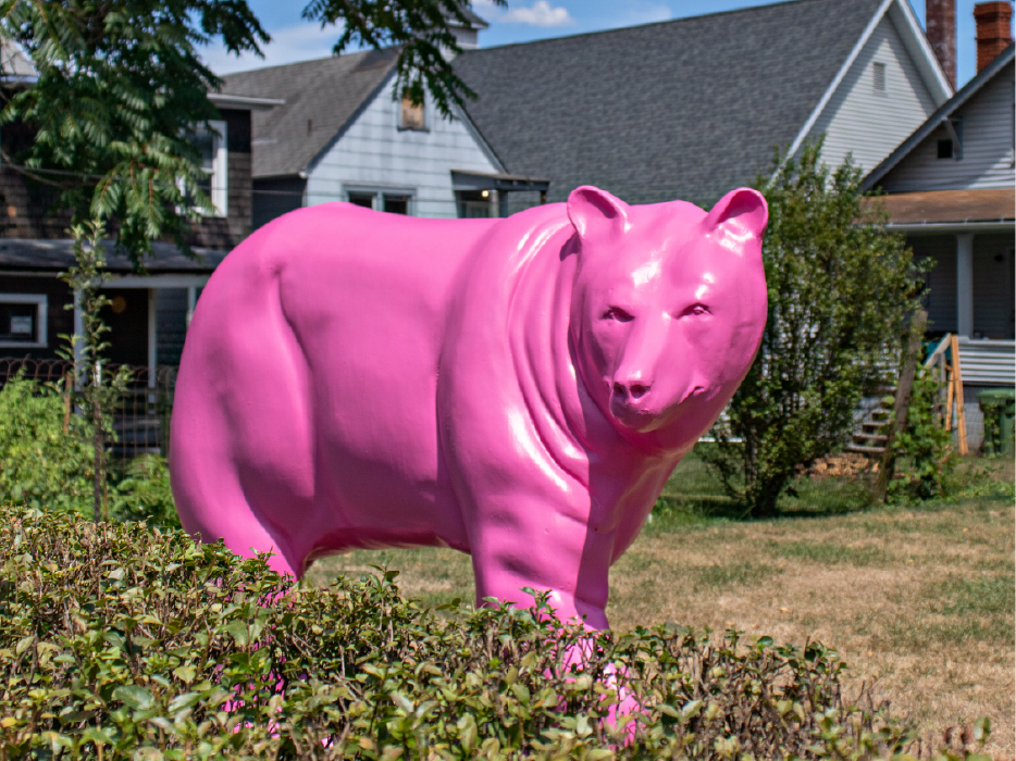 pink bear sculpture