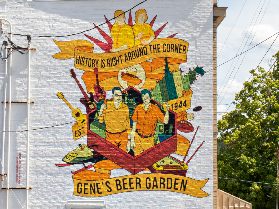 Mural on Gene's Beer Garden building