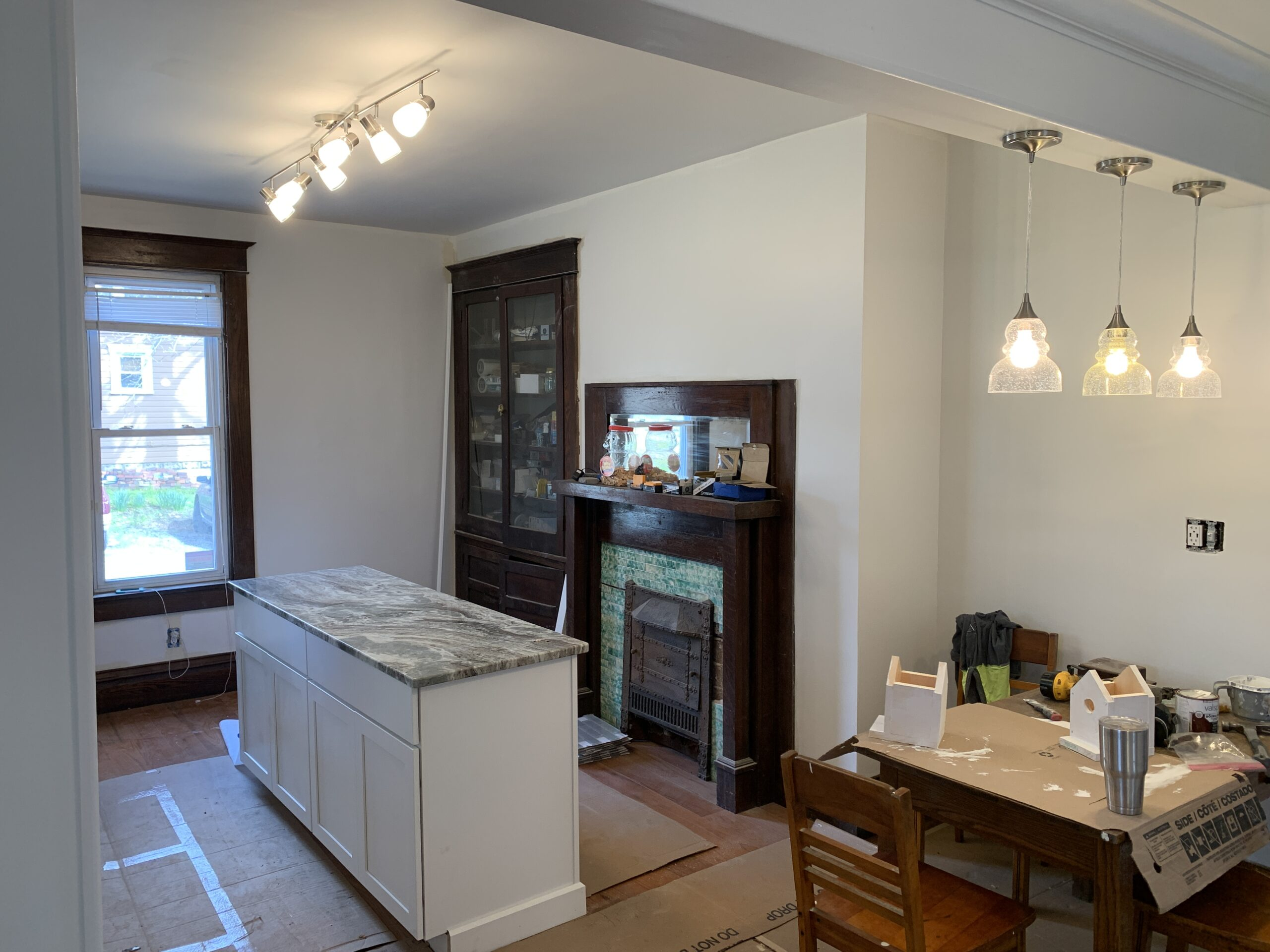 fireplace and counter